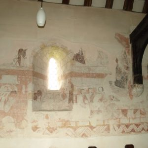 Murals on the north wall of the nave