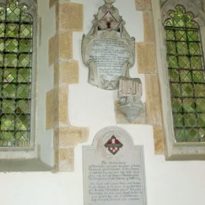 Memorials on the chancel north wall