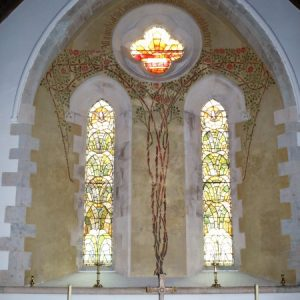 The 'Tree of Life' painting in the chancel