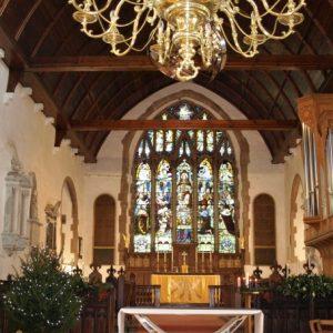 Mayfield church nave at Christmas