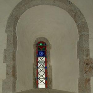 12th century lancet window in nave.