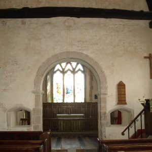 The chancel arch with squints eithe side