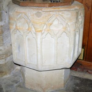 14th century sandstone font