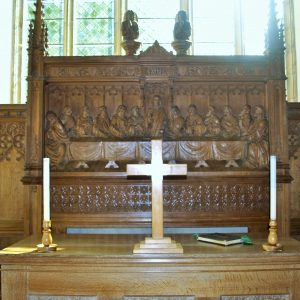 Finely carved reredos depicting the Last Supper