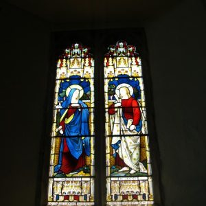 Fine stained glass depicting Sts Mary and John