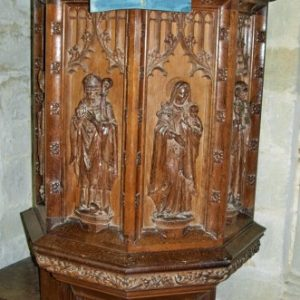 The 19th century carved wooden pulpit