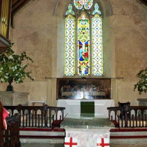 The chancel and three light east window