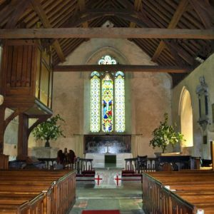 A view along the simple, aisleless nave