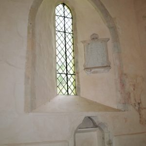 A lancet window in the nave