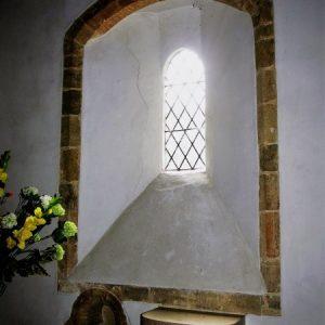 Lancet window and piscina in chancel