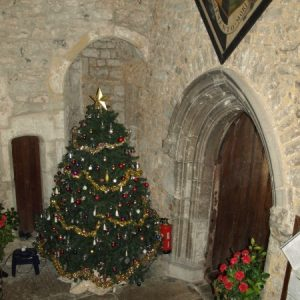 The narthex/outer porch at Christmas
