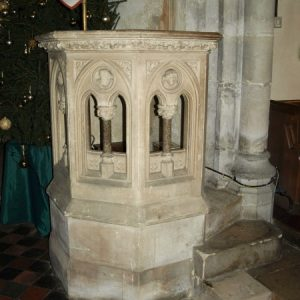 The fine octagonal pulpit
