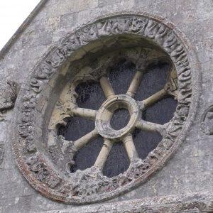 Close-up of the wheel window