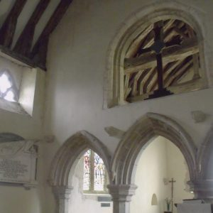 Capel-le-Ferne church opening for rood above chancel arches