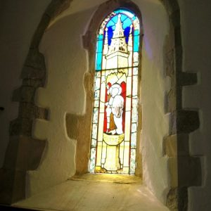 Lancet with stained glass of St Peter