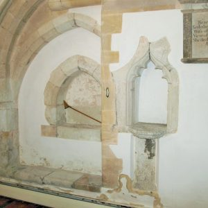 Two piscinae in the chancel