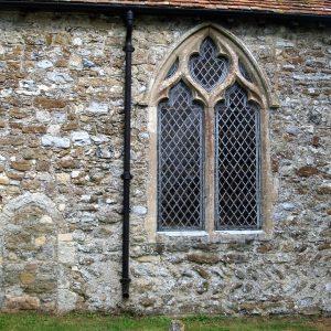 Herringbone masonry in south cancel wall