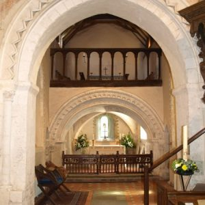 The chancel arch with 2 storey sanctuary beyond