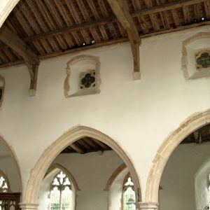 A section of the top of the north arcade and clerestory windows