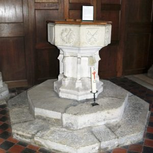 15th century octagonal font