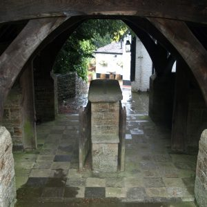 A closer view of the lychgate