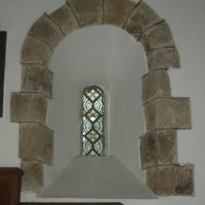 A lancet window in the chancel