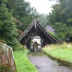 The lychgate viewed from the twitten