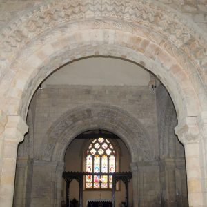 View through west and east crossing arches