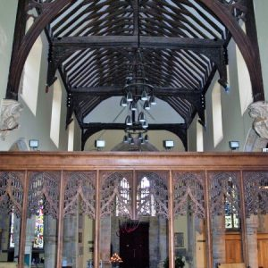 The nave roof and chancel screen