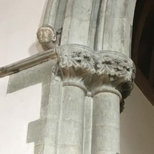 Carved foliage capitals on the chancel arch