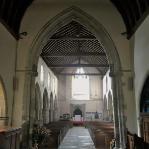 The nave arcades and king post roof
