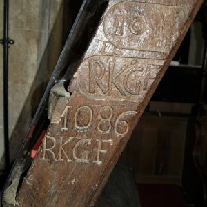 Ancient ladder with inscribed date