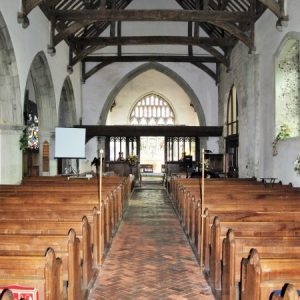 The nave looking towards the rood loft and chancel