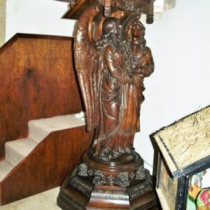 The carved oak lectern