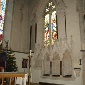 The south wall of the chancel