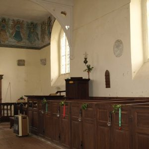 Box pews and pulpit