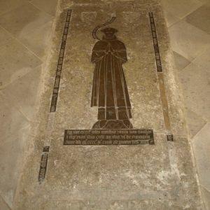 Coffin slab with brass