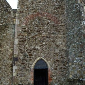 West tower with brick relieving arch