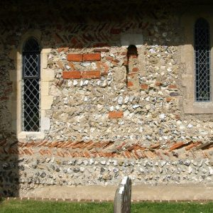 Saxon herringbone work using Roman bricks