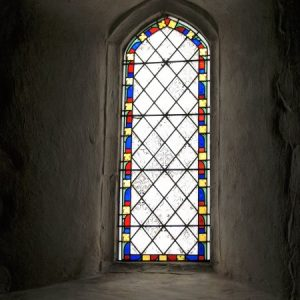 1836 stained glass in south wall
