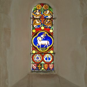 Stained glass in the chancel east lancet
