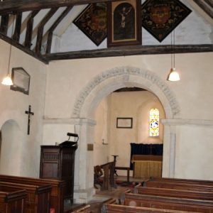 View from the south of the nave across to the chancel arch and pulpit