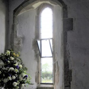 Tall lancet window in the chancel