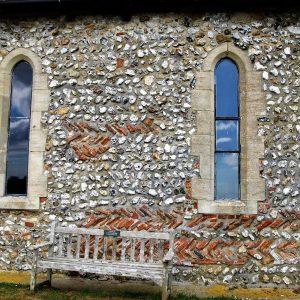 Herringbone masonry in the chancel south wall