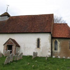 The south elevation showing the apsidal chancel