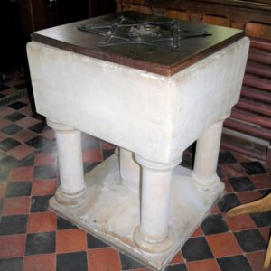 The square font in the church