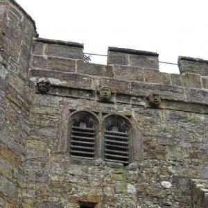 Grotesque gargoyles on tower