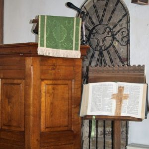 Pulpit, lectern and rood staircase