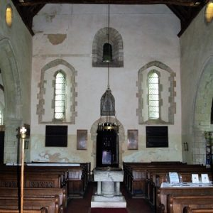 The nave looking west towards the Saxon wall
