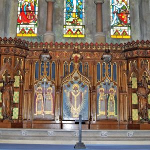 The modern reredos featuring archangels